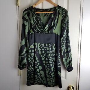 Tori-Nichel-Green-Black-100-Silk-Mini-Dress-USA-Womens-size-4-EUC-long-sleeve
