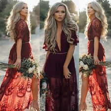 Women Long Lace Dress Prom Evening Party Cocktail Bridesmaid Wedding Gown Dresse