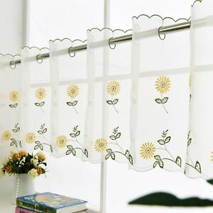 Image Is Loading Country Kitchen Curtain Daisy Embroidery Cafe Valance
