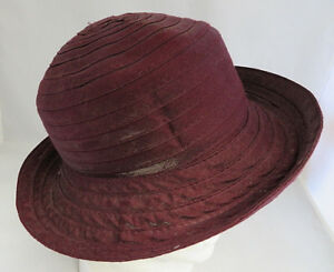 Image is loading Vintage-Burgundy-polyester-Women-Hat-Genuine-Mid-Century- 0ccacdb4a26