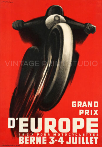 Motorcycle Racing Vintage Switzerland Art Deco Giclee Canvas Print 20x29
