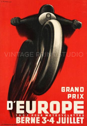Motorcycle Racing Vintage Switzerland Art Deco Giclee Canvas Print 20x29