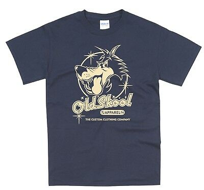 b18eac23b060a Oldskool Wolf Logo Classic Car Hotrod Vintage Rockabilly T Shirt OS01 NAVY    eBay