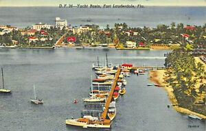 FORT-LAUDERDALE-FL-YACHT-BASIN-ELEVATED-VIEW-1948-POSTMARK-POSTCARD