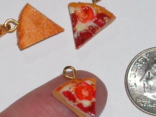 1 Pepperoni Cheese Slice Pizza CHARM Miniature dollhouse tiny little mini food *