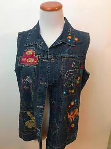 CHICO-039-s-denim-embroidered-vest-Size-1-Women-039-s-M-L