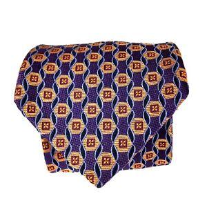 Bachrach-Men-039-s-Silk-Necktie-Tie-58-75-034-x-3-75-034-Purple-Gold-amp-Navy-Blue-Geometric
