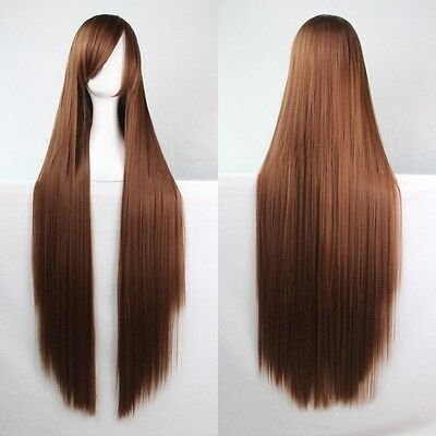 Fashion Women's Long Straight Cosplay Costume Halloween Full Hair Wig 80cm