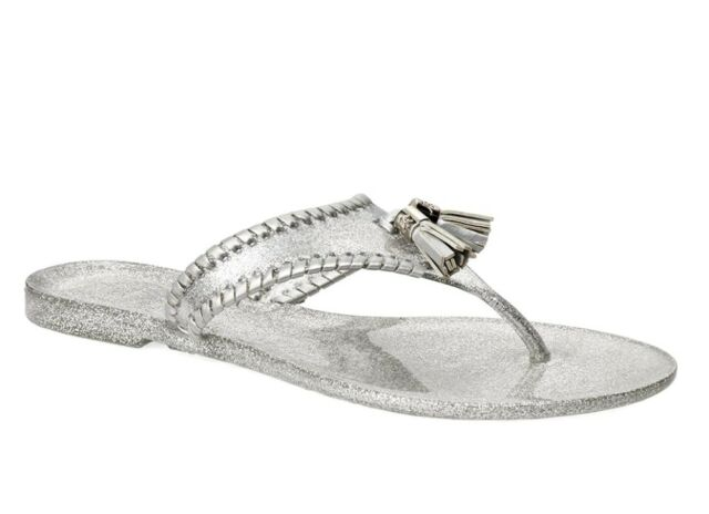 New Jack Rogers Alana Sparkle Jelly Sandals Silver Size 8M