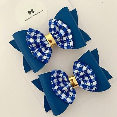 Royal blue and yellow grosgrain riobbon hair bows School hair accessories