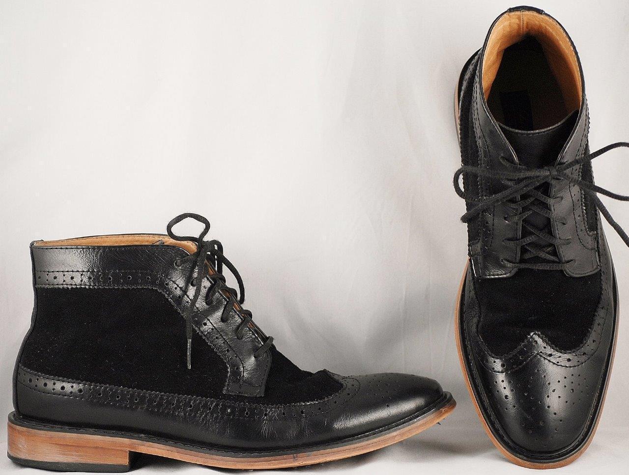 Men's La Milano Black Leather Suede Brogans US 10.5