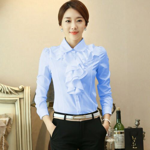 Women Chiffon Office Blouse Frill Drape Ruffles Trim Shirt Top Long Sleeve Retro