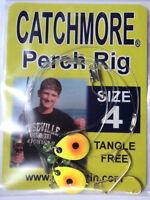 Perch Rigs, Catchmore, Three Pks, Size 4 Hook, Chart/orange, Tangle Free Pr13-4