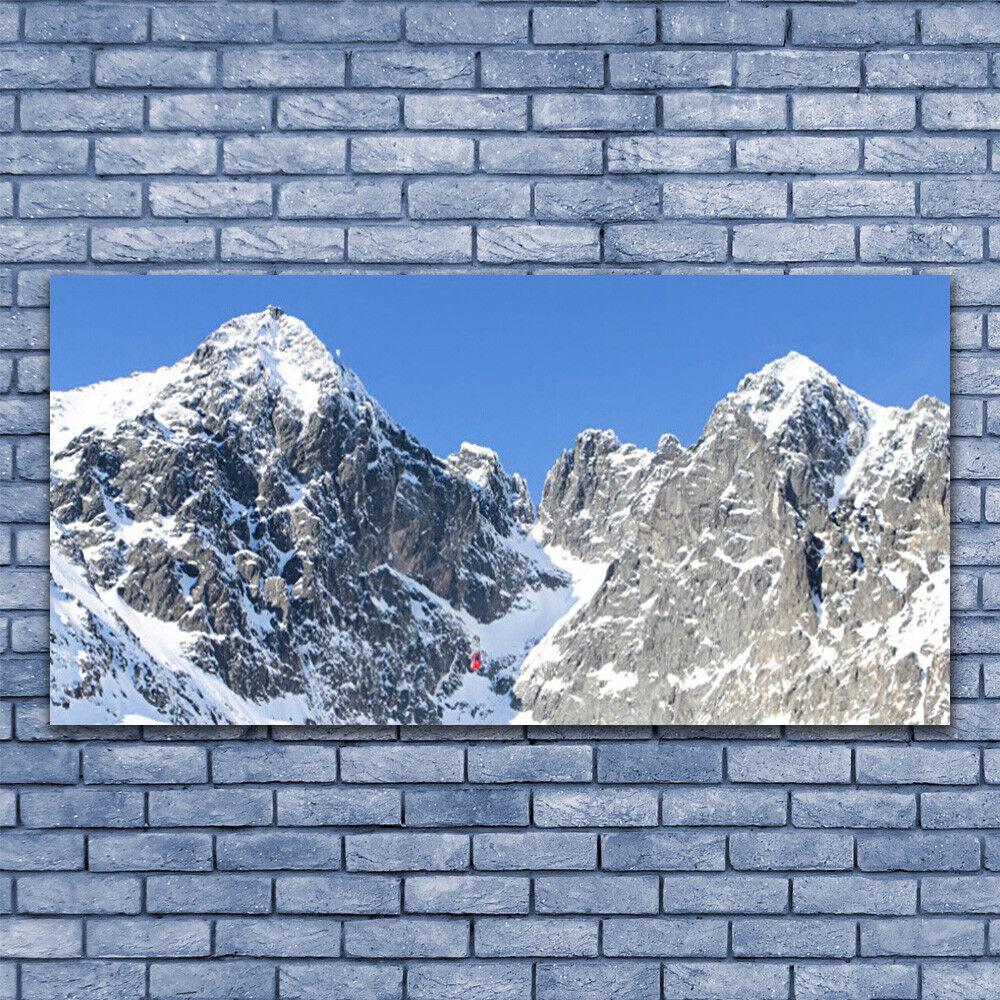 Wall art Print on Plexiglas® Acrylic 140x70 Mountain Snow Landscape