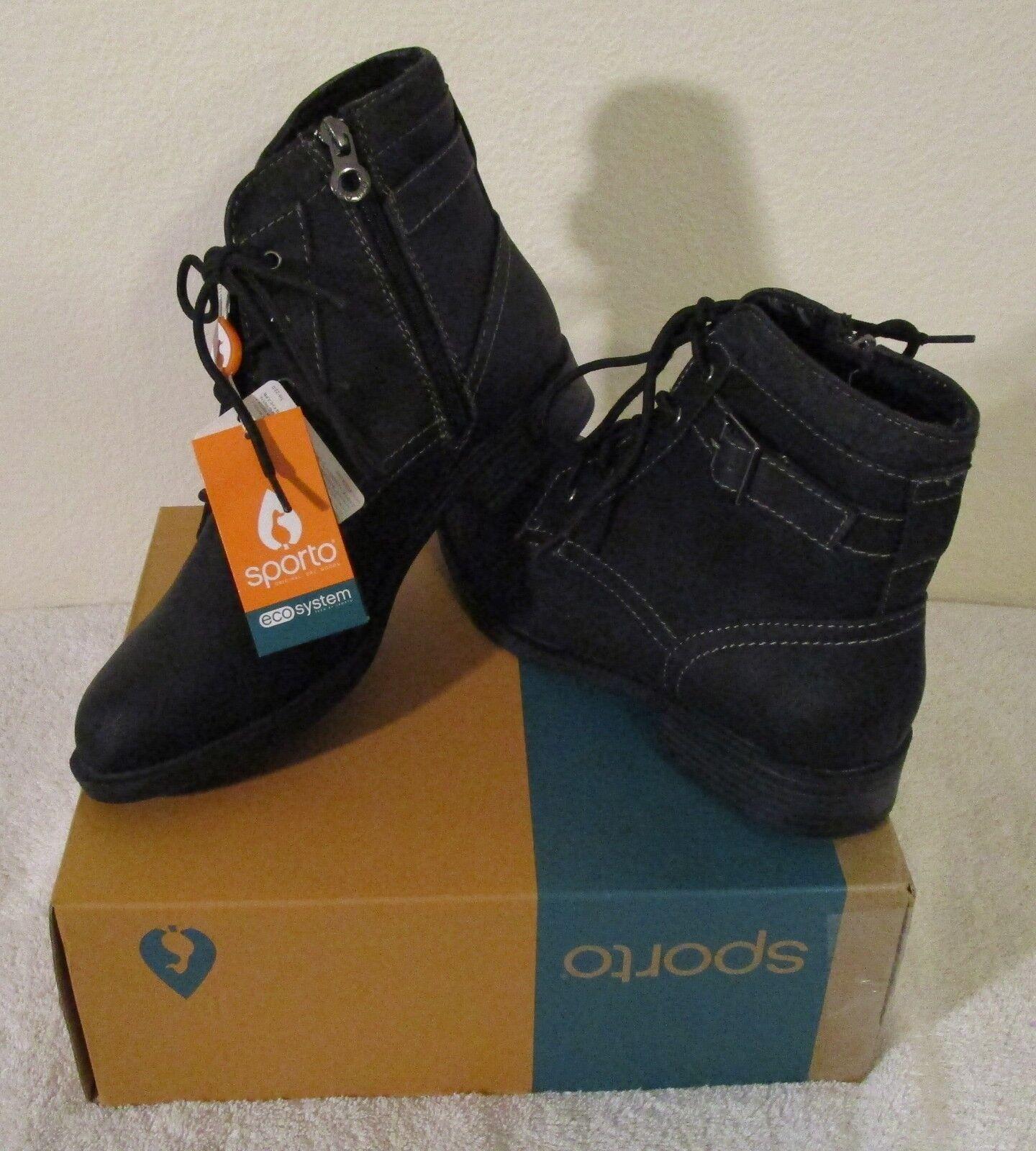 NIB Sporto Lemier Womens Faux Leather Combat Boots 9 Black MSRP