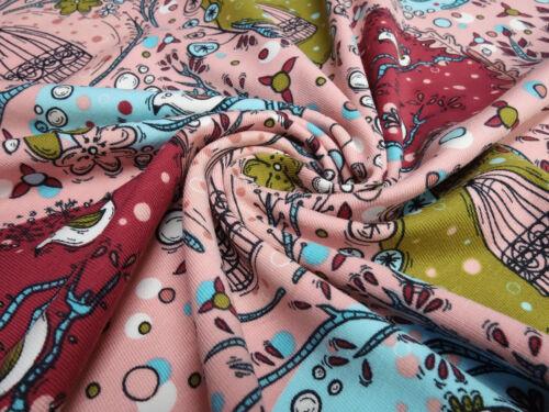 Stoff Baumwolle Jersey Vögel Blumen Bubbles altrosa rot türkis bunt