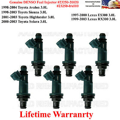 6 GENUINE DENSO 23250-20020 1997-2004 TOYOTA// LEXUS 3.0L V6