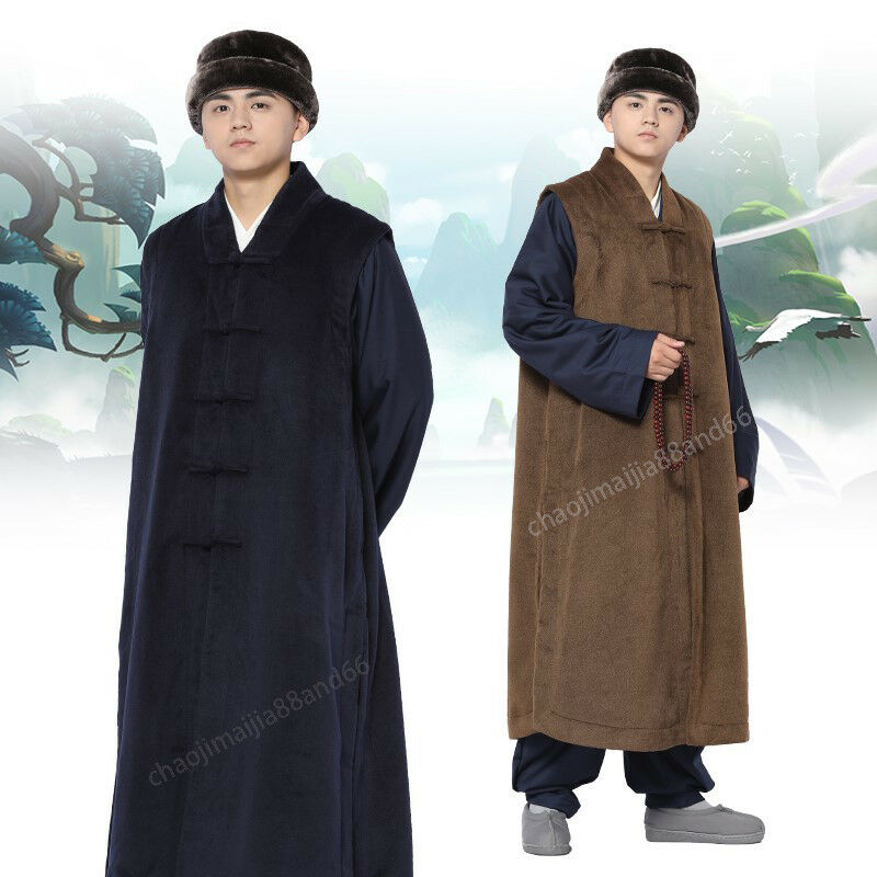 5 colors Winter Warm Long Vest Robe Buddhist Monk Meditation Kung Fu Gown Suit