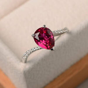 1-70-Ct-Pear-Cut-Ruby-Gemstone-Ring-14K-White-Gold-Diamond-Rings-Size-5-6-7-8