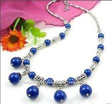 Charming!Tibet silver/Egyptian lapis lazuli Round Beads Necklace