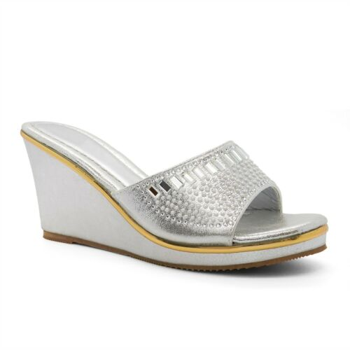 Ladies Womens Comfort Diamante Wedge Heel Platform Size Gold Shoes Sandals New