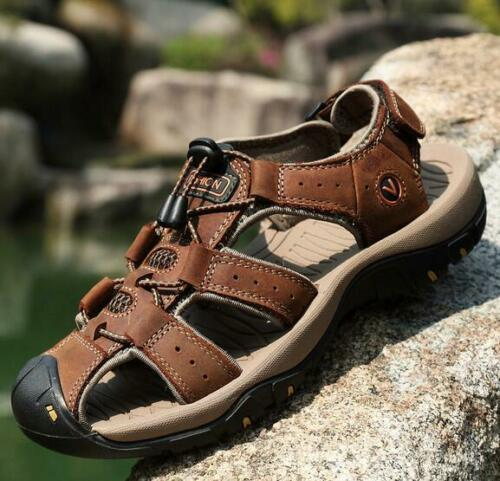 New Mens Fisherman Beach Shoes Leather Outdoors Sandals Hiking Flats Baotou Size