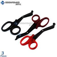 3 Full Tactical Black Emt Shears Scissors Bandage Paramedic Ems Supplies 725