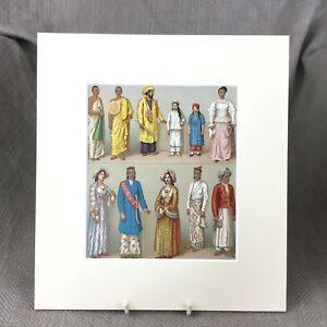 1876 Antico Stampa Indo Persiano Abito Moda Art Racinet Storico Costume