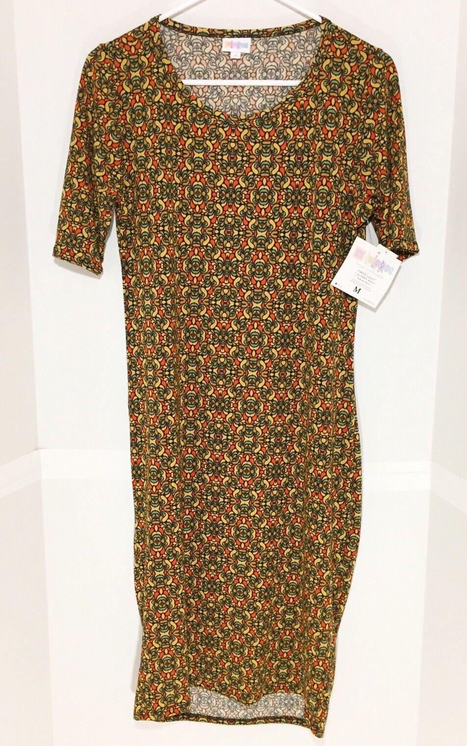 LuLaRoe Julia Dress Medium Floral schwarz Orange Gold Teal
