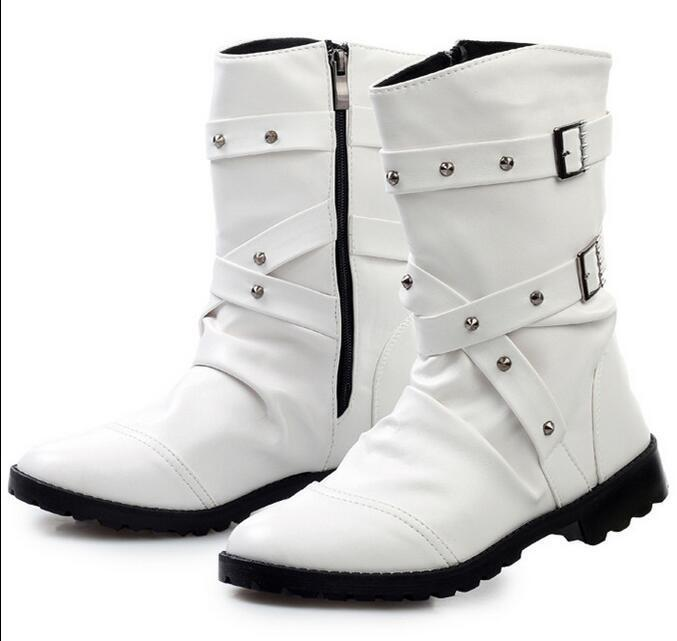 Fashion Men Round Toe Side Zip Punk Buckle Motorcycle Ankle Boot shoes New White