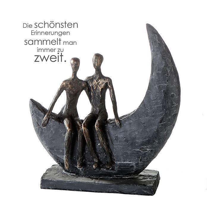 79616 Skulptur Moon Poly bronzefarbene Figur Basis Dunkelgrau Höhe 23,5cm