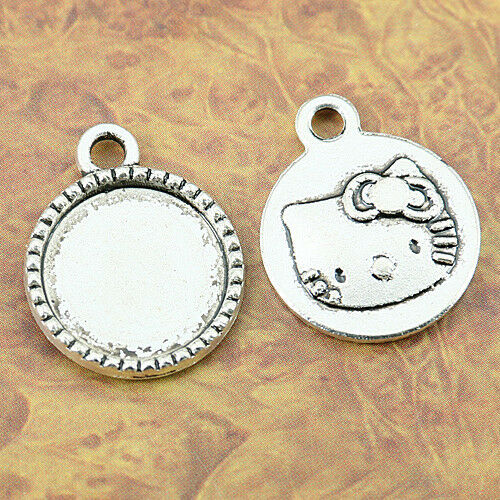 14pcs tibetan silver color round cute cat charm cabochon settings EF1277