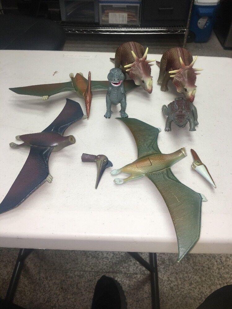 1987 Tyco Dino-Riders Lot Of Dinosaurs Pterodactyl Rhinoceros Lot Of 7