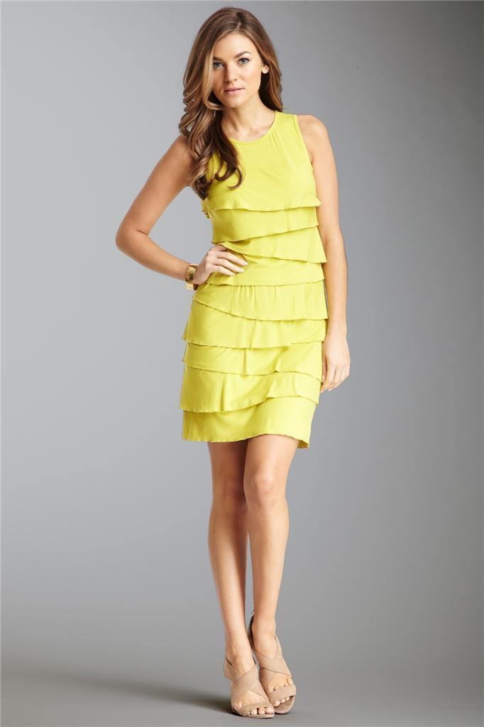 Tvätt av Shelli Segal Limone Jersey Layerd Tank Dress Storlek 10 NWT  195