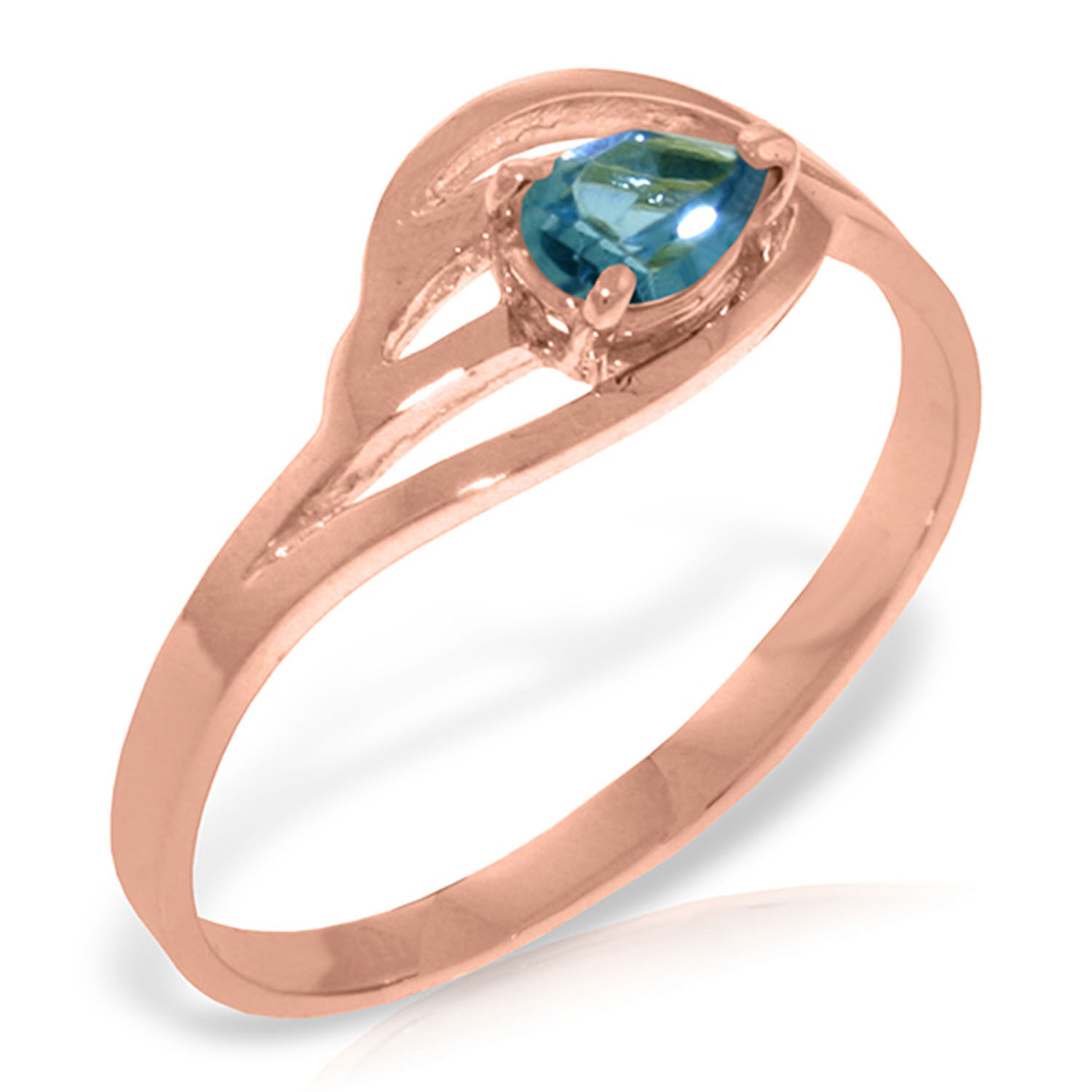 Brand New 14K Solid pink gold Ring with Natural bluee Topaz