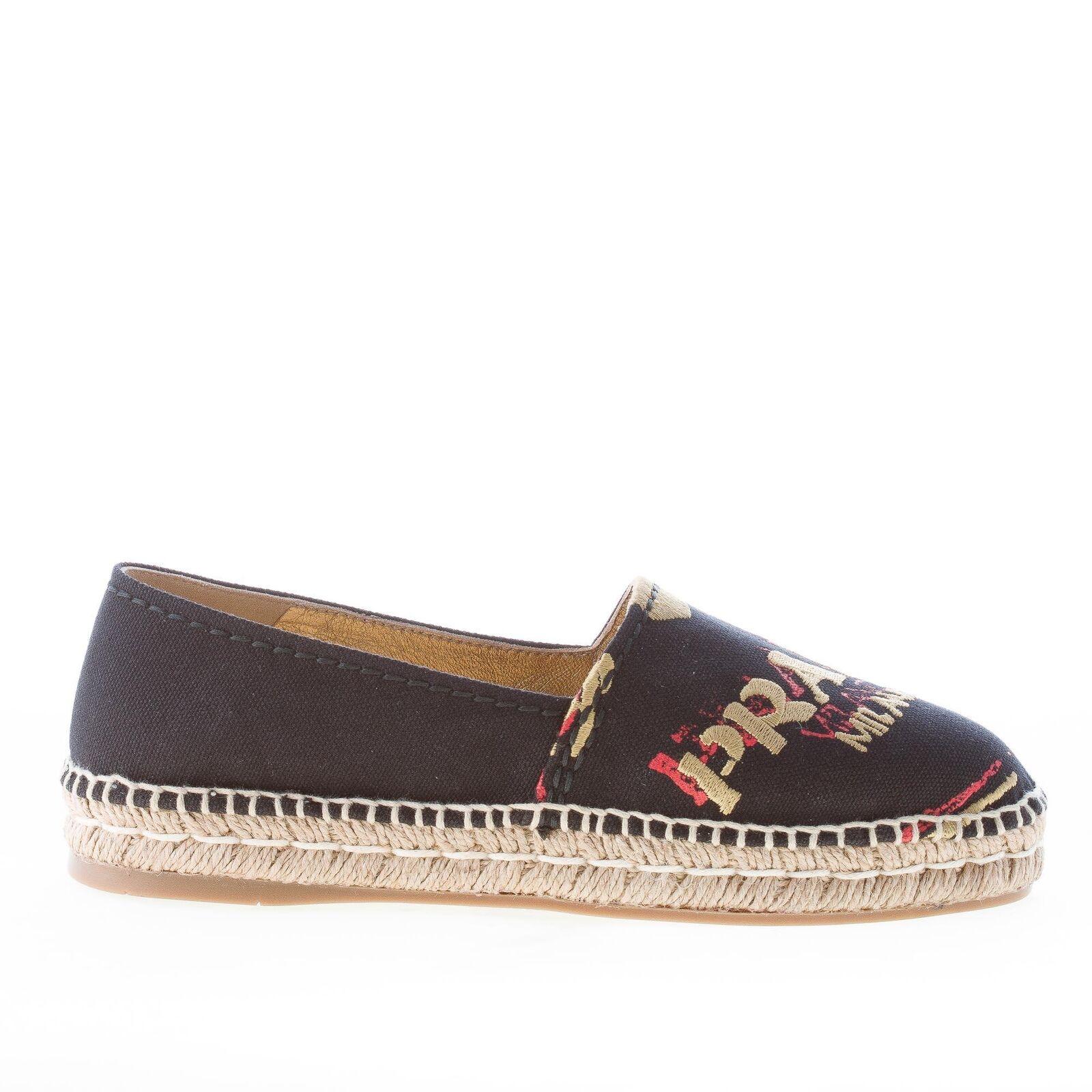 PRADA damen schuhe women shoes Black hemp espadrillas slip on with raffia 1S292H