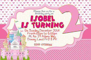 Image Is Loading Girls Personalized Birthday Party Invitations Princess Castle