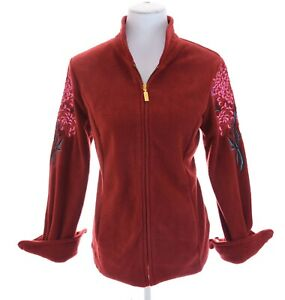 NWT-Bob-Mackie-Wearable-Art-Embroidered-Fleece-Full-Zip-Up-Jacket-Red-Women-Sz-S