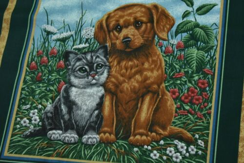 """Dog /& Cat on Brown /& Dk-Green Cotton Panel Cranston 18/"""" Long x 44/"""" Wide P1401"""
