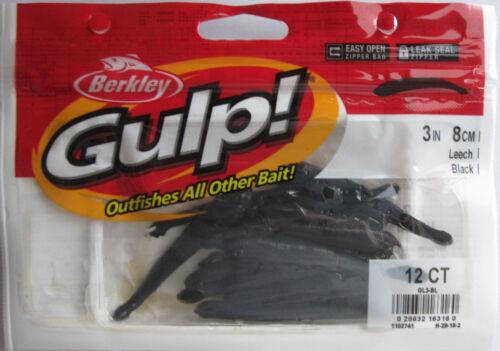 "12//Ct Pack 3/"" Leech BERKLEY GULP - Black"