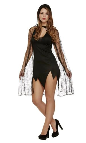 Adult Spiderweb Witch Cape Long Gloves Halloween Cloak /&  Fancy Dress Accessory