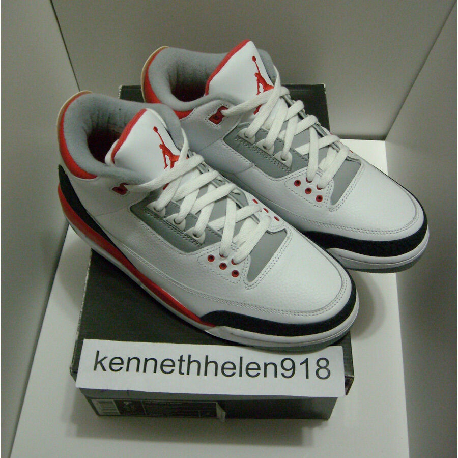NEW NEW NEW 2007 NIKE AIR JORDAN III 3 RETRO WHITE FIRE RED CEMENT GREY SIZE 9.5 3aab55