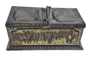 Ancienne Boîte Huntley & Palmers Biscuit scène Croisade chevalier Chevalerie war