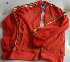 RARE ADIDAS TRACKSUIT TOP JACKET CASUALS RETRO SMALL+ FIREBIRD DRESSER RED GOLD
