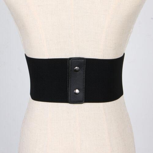 Damen Klassischer Elastischer Taillengürtel Leder Schwarz Stretchgürtel