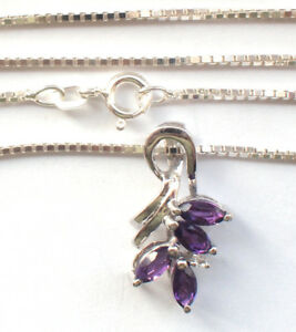 Stunning-Small-Purple-Amethyst-Butterfly-Pendent-925-Silver-Chain-Necklace-44cm