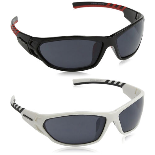 Mens Wrap Around Sports Dark Biker Fishing Shades Black White Sunglasses Case