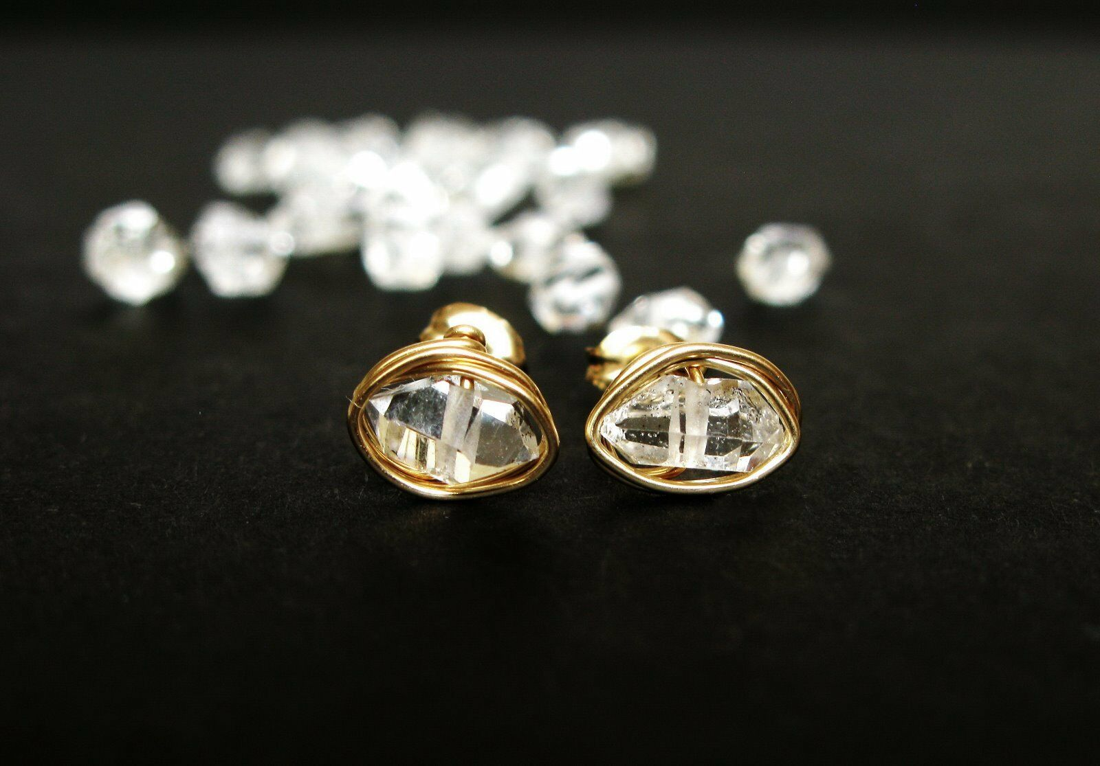 Herkimer diamond earrings-raw herkimer post earrings-genuine gem studs