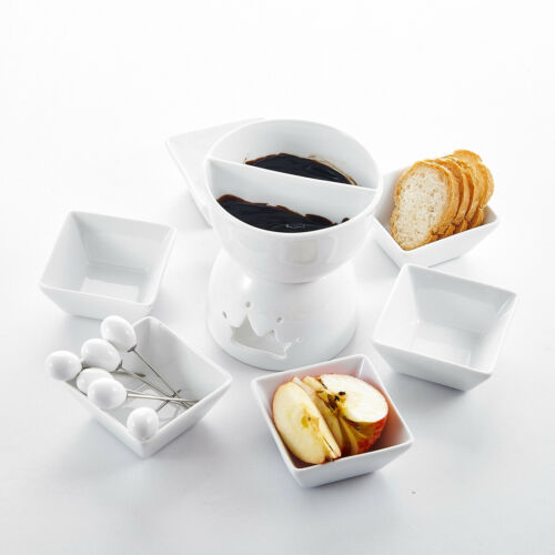 Ceramic Tealight Candle Cheese Butter Chocolate Fondue Set w//Dipping Bowls Forks