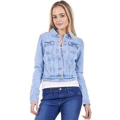 Ladies Gorgeous Denim Jeans Jacket Fashion Blue Womens 100% Cotton